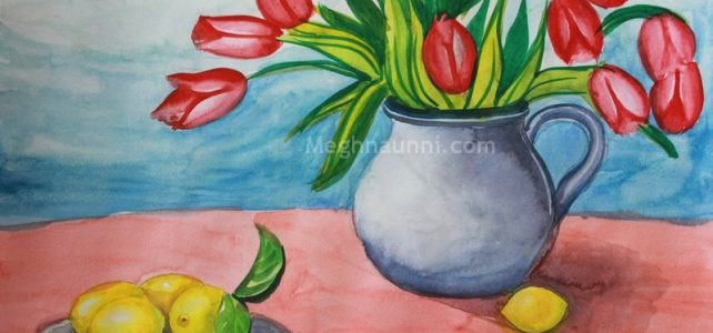 Flower Pot & Fruits Still Life Painting – Water Colour