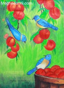 My Gift to Chittamma… Birds & Fruits Painting