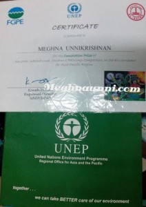 Consolation Award in the 24th UNEP International Painting Competition 2015