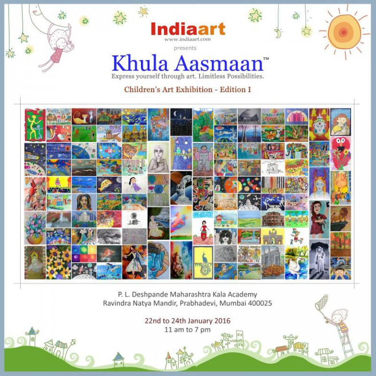 Invitation to Khula Aasmaan Children Art Exhibition Edition 1 by Indiaart