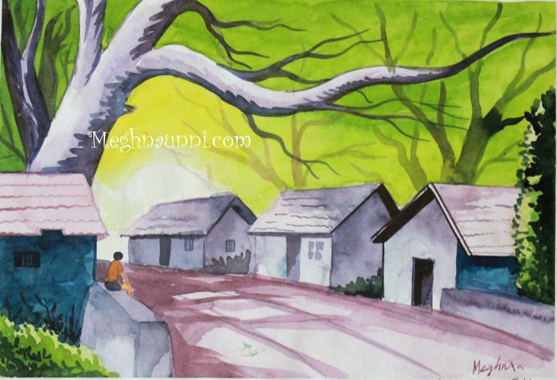 Village scenery using water colours
