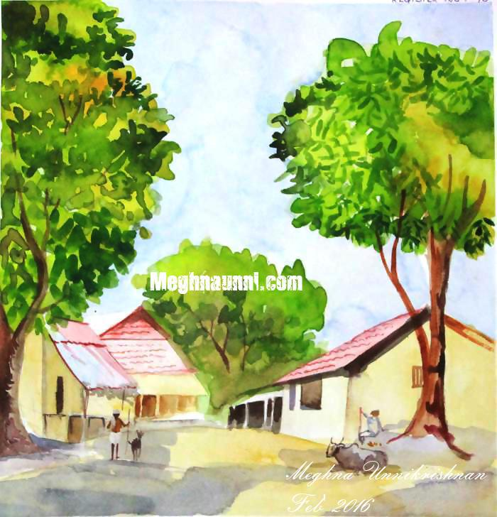 Village Scene Water Colour Painting