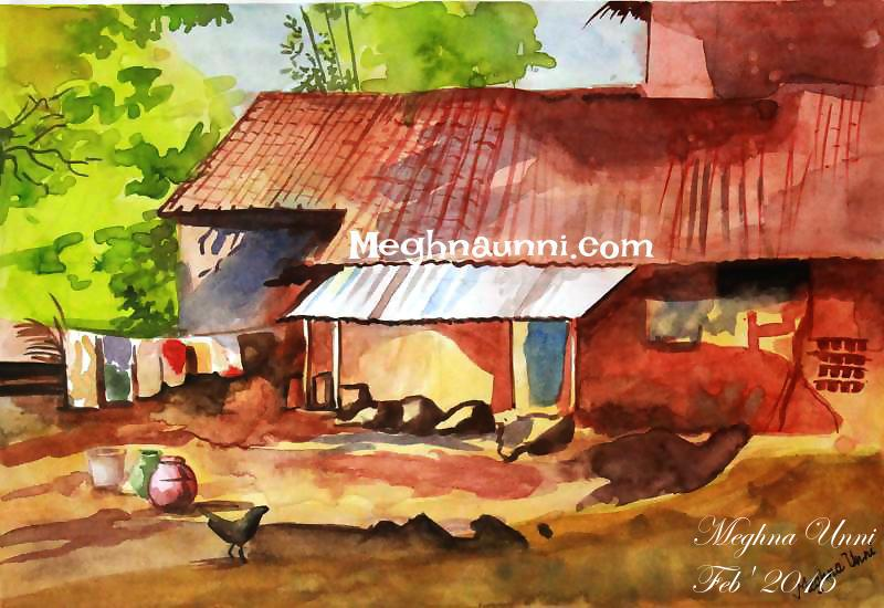 village-house-painting-water-colour-by-meghna-unni