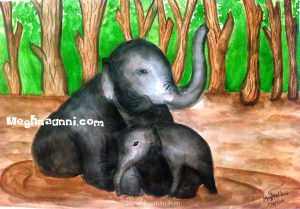 Elephant & Baby Water Colour Painting – Happy Mother's Day