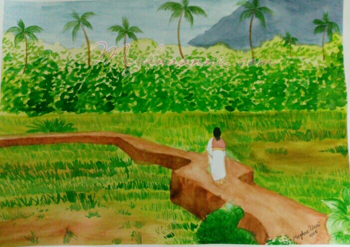 My Village Series WaterColor Painting 2 – Woman walking through the fields