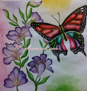 Flowers & Butterfly Indradhanush Painting – Watercolor