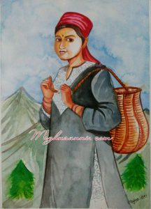 Lady ready to Pluck Tea Leaves Painting