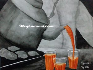 Pouring Tea to Glasses Painting