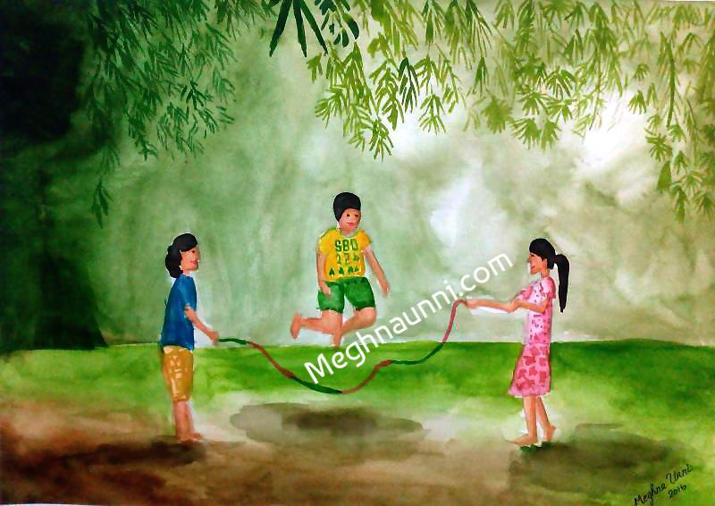 vacation-time-children-skipping-painting-meghna-unni