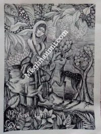 shankunthala-with-deer-black-and-white-meghna