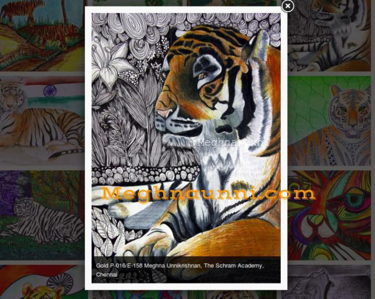 Won Gold Medal in Tiger, The National Animal All India Art Contest by Artinfoindia