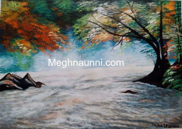 New Acrylic Painting : Water Gushing through the River