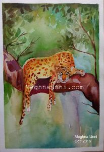 Leopard Water Colour Painting