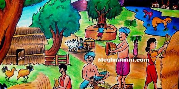 Village Farming : Oil Pastel Painting