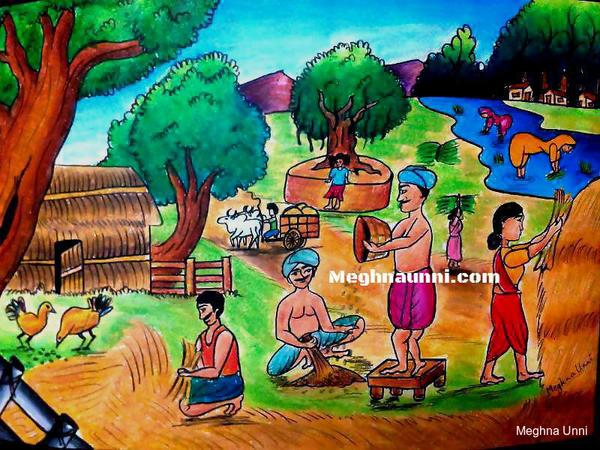 Village Farming : Oil Pastel Painting
