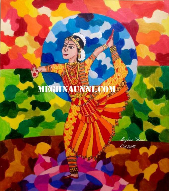 Bharathanatyam Painting of Natarajasana Pose