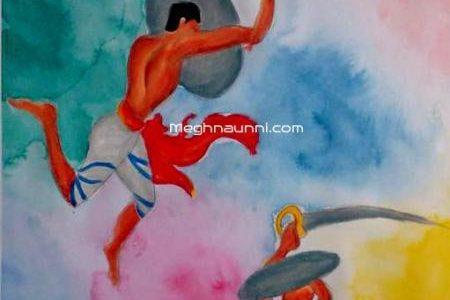 Kalaripayattu Painting in Water Colour Medium