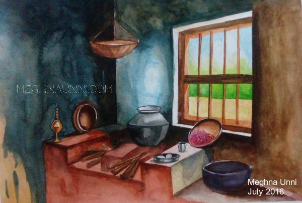 Old Kitchen Water Color Painting   Done for Practice