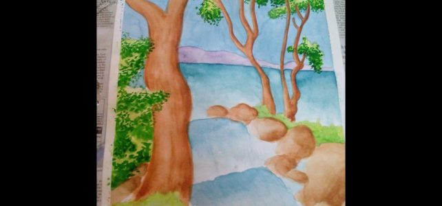 Waterfalls Water Color Painting Video