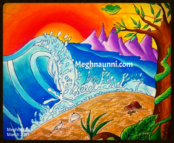 Isolated Island Waves Painting