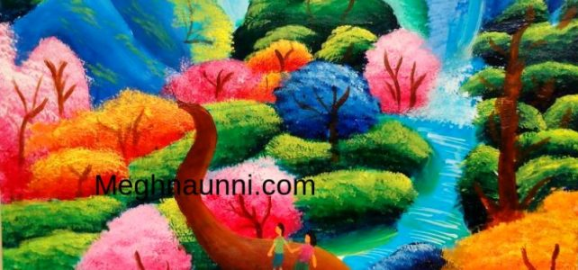 Spring Season Forest Acrylic Painting