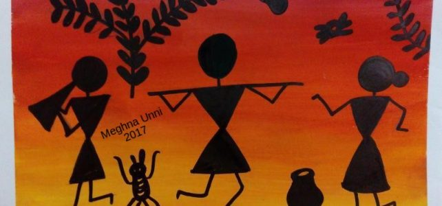 Warli Art Painting Modified using Poster Colors
