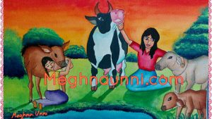 Children with Cow and the calves Painting