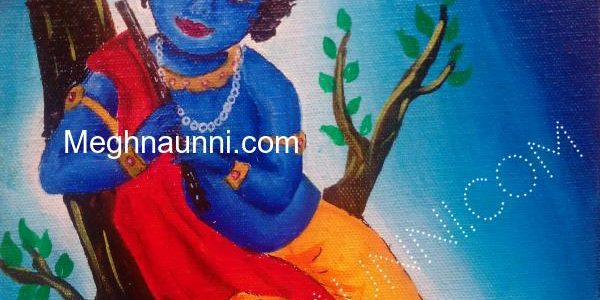 Little Krishna Painting ; Acrylic on Canvas