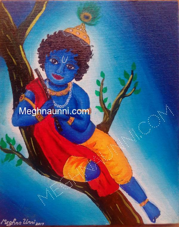 Little Krishna Painting ; Acrylic on Canvas
