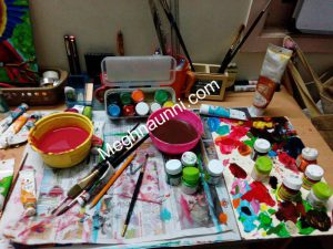 After Painting with Acrylic ; My Art Workstation