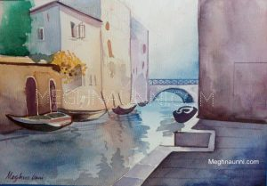 Canal of Venice Watercolor Painting