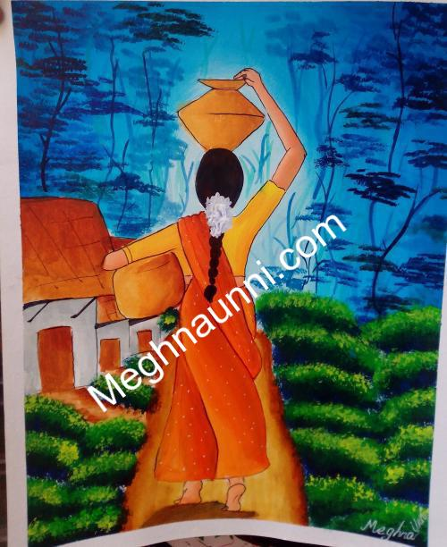 Village Woman with Pots Painting