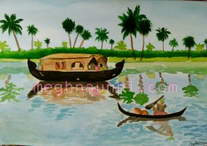 Kerala Backwaters Painting in Watercolors