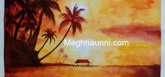Evening Landscape Monocolour Silhouette Painting