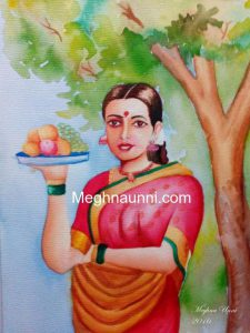 Lady with Fruit Basket Water Colour Painting