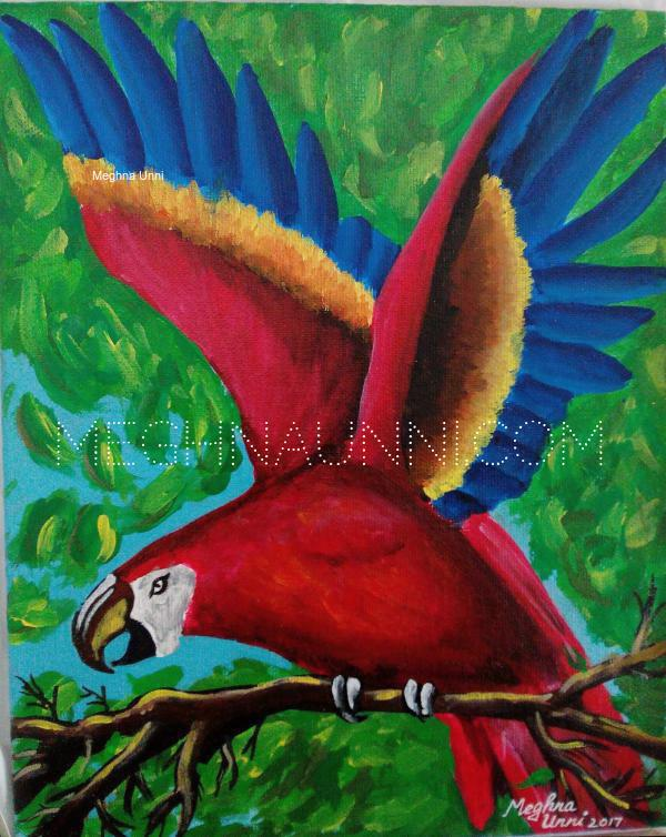 Scarlet Macaw Painting for my friend Giridarshini