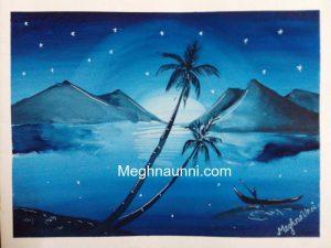 Nature Silhouette Blue Mono Colour Painting