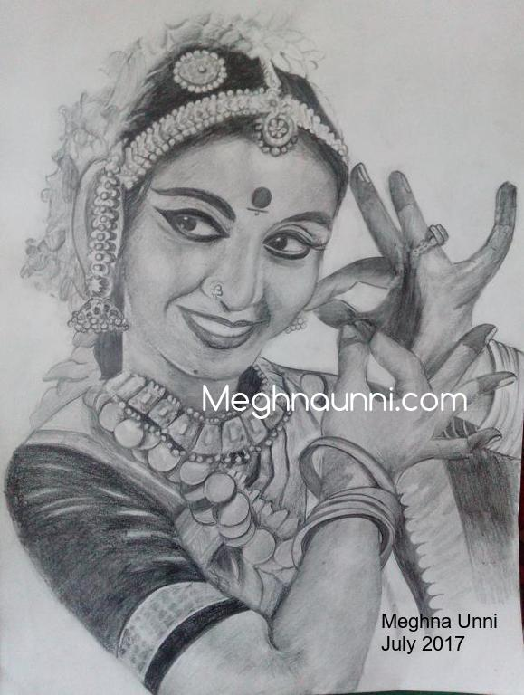 Bharathanatyam Dancer Pencil Sketch