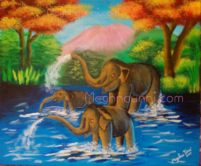Elephants in Forest Acrylic Painting
