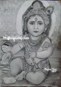Baby Krishna Pencil Sketch | Happy Janmashtami