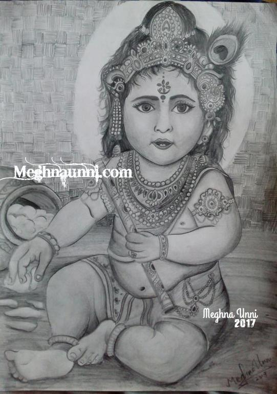 Baby Krishna Pencil Sketch Happy Janmashtami Meghnaunni Com