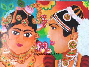 Krishna with a Gopika Acrylic Painting