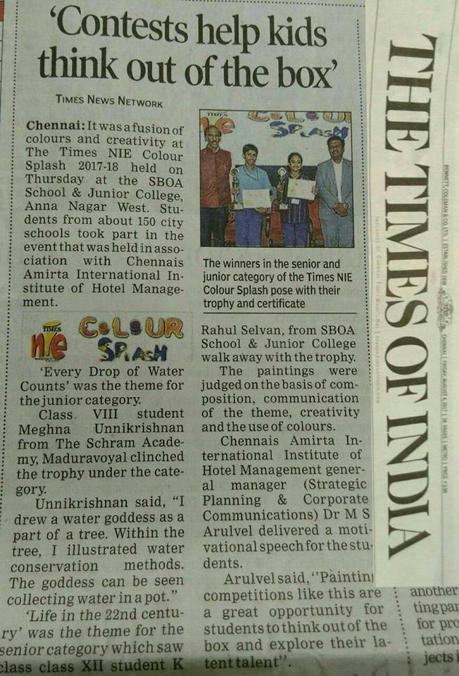 Times of India NewsPaper Aug 4, 2017 about TIMES NIE Color Splash Painting Competition