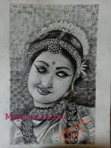 My Favourite Pencil Sketch   Bharathanatyam Dancer