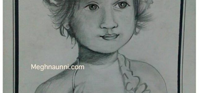 Cute Little Girl Pencil Sketch Work