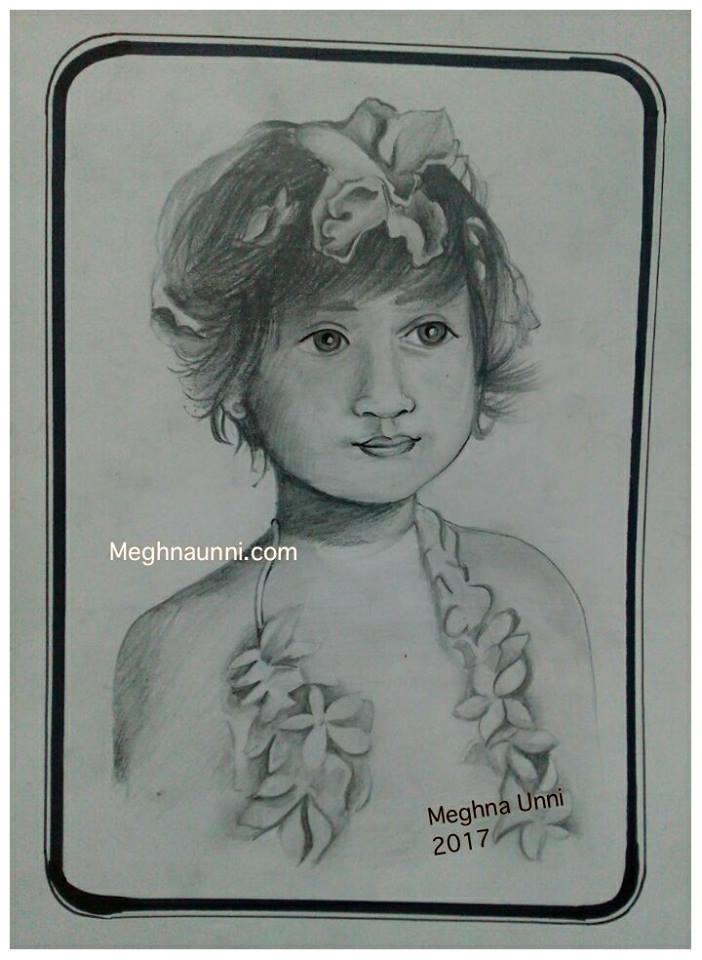 Cute Little Girl Pencil Sketch Work