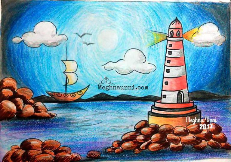 Light House on Seashore Plastic Crayons Painting