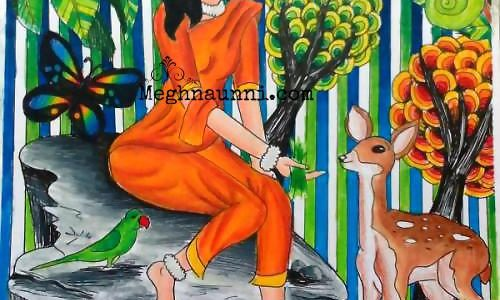 Shakunthala Painting in Pencil Colours