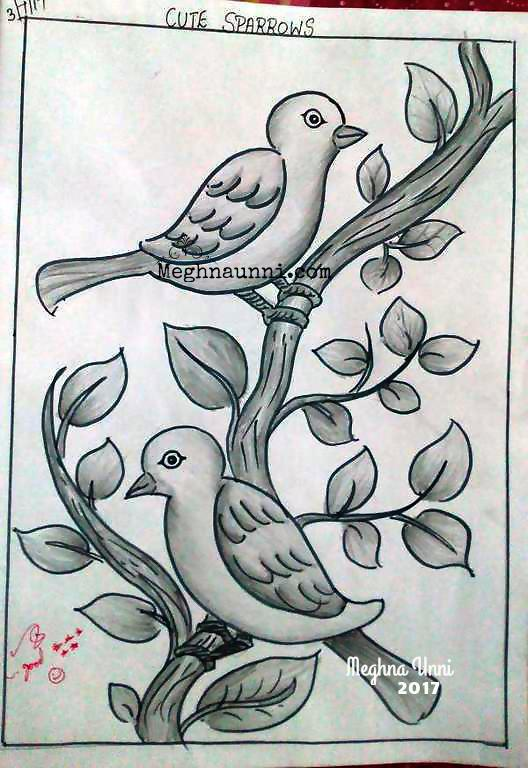 Cute Sparrows – A Simple Sketch done for School Art Book
