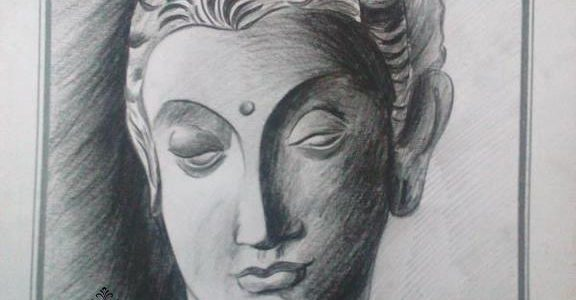 Buddha Face Pencil Shading Work